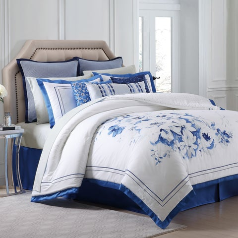 Charisma Alfresco Blue Floral Printed Sateen Comforter Set