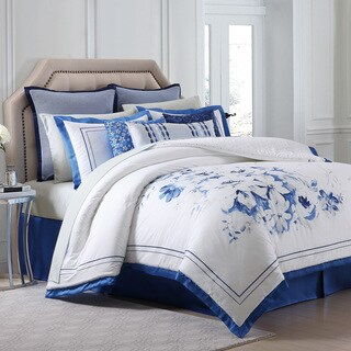 Charisma Alfresco Blue Floral Printed Sateen Comforter Set (3 options available)