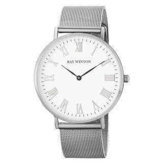 Ray-Winton Men's WI0204 Analog White Dial Silver Stainless Steel Mesh Bracelet Watch