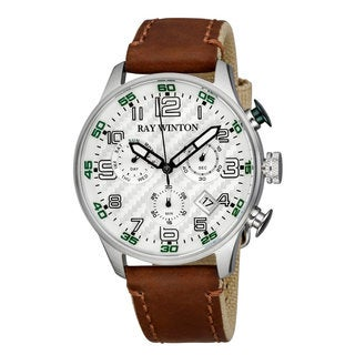 Ray Winton Men's WI0307 Sport Chronograph Textured Silver Dial Brown Leather/Fabric Watch
