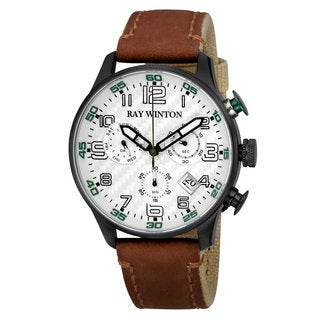 Ray Winton Men's WI0306 Sport Chronograph Textured Silver Dial Brown Leather/Fabric Watch