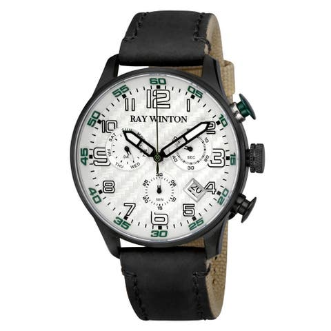 Ray Winton Men's WI0306 Sport Chronograph Textured Silver Dial Black Leather/Fabric Watch
