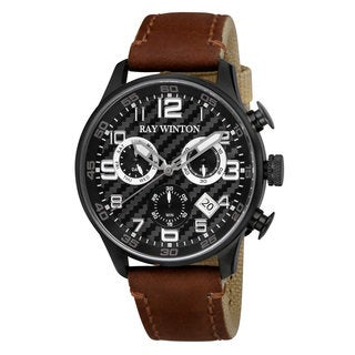 Ray Winton Men's WI0304 Sport Chronograph Textured Black Dial Brown Leather/Fabric Watch