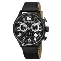 Ray Winton Men's WI0304 Sport Chronograph Textured Black Dial Black Leather/Fabric Watch