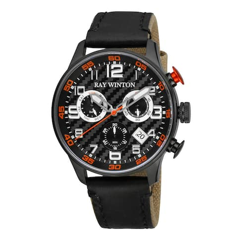 Ray Winton Men's Sport Chronograph Textured Black Dial Black Leather/Fabric Watch