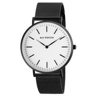 Ray-Winton Men's WI0207 Analog White Dial Black Stainless Steel Mesh Bracelet Watch