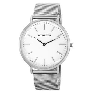 Ray-Winton Men's WI0203 Analog White Dial Silver Stainless Steel Mesh Bracelet Watch