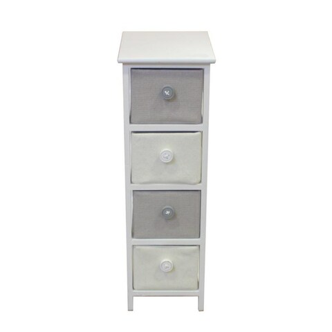 Benzara White/Grey Wooden Cabinet with 4 Drawers