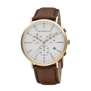 Ray Winton Men's WI0118 Date Chronograph White Dial Brown Genuine Leather Watch
