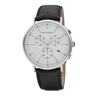 Ray Winton Men's WI0116 Date Chronograph Silver Dial Croc-Embossed Genuine Brown Leather Watch