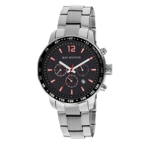 Ray Winton Men's Chronograph Black Dial Tachymeter Bezel Silver Stainless Steel Bracelet Watch