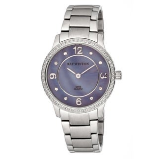 Ray Winton Women's Analog Lilac Mother Of Pearl Dial Crystal Bezel Silver Stainless Steel Bracelet Watch