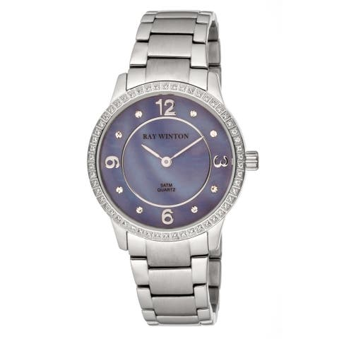 Ray Winton Women's WI0105 Analog Lilac Mother Of Pearl Dial Crystal Bezel Silver Stainless Steel Bracelet Watch