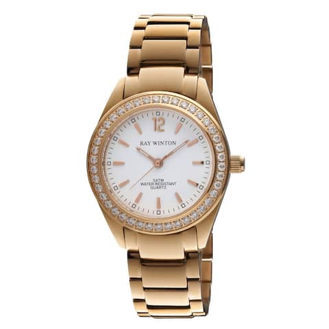 Ray Winton Women's WI0101 Analog White Dial Crystal Bezel Rose Gold Stainless Steel Bracelet Watch
