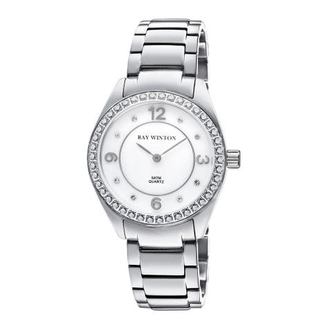 Ray Winton Women's WI0102 Analog White Mother Of Pearl Dial Crystal Bezel Silver Stainless Steel Bracelet Watch