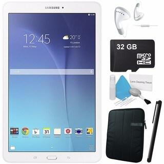 Samsung Galaxy Tab E 9.6 inch 8GB 5MP SM-T560 White + Sleeve + 32GB Class 10 Micro SD Card + Headphone ear-buds Bundle