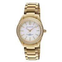 Ray Winton Women's  Analog White Dial Crystal Bezel Gold Stainless Steel Bracelet Watch