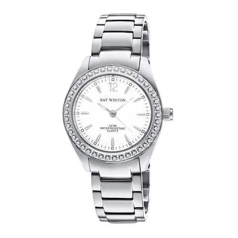 Ray Winton Women's WI0098 Analog White Dial Crystal Bezel Silver Stainless Steel Bracelet Watch