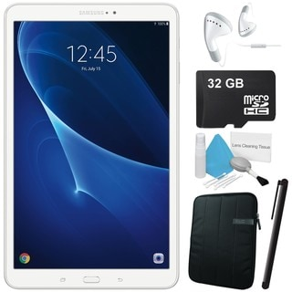 "Samsung 10.1"" Galaxy Tab A T580 16GB SM-T580NZWAXAR + Neoprene Sleeve 10.1"" Case + 32GB SD Card + Headphone ear-buds Bundle"
