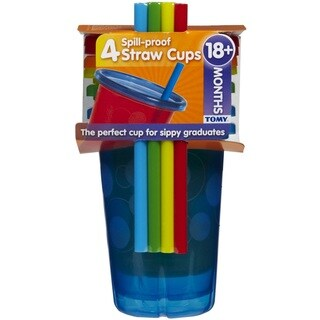 The First Years Blue Take and Toss 10-ounce Straw Cups (Pack of 4)