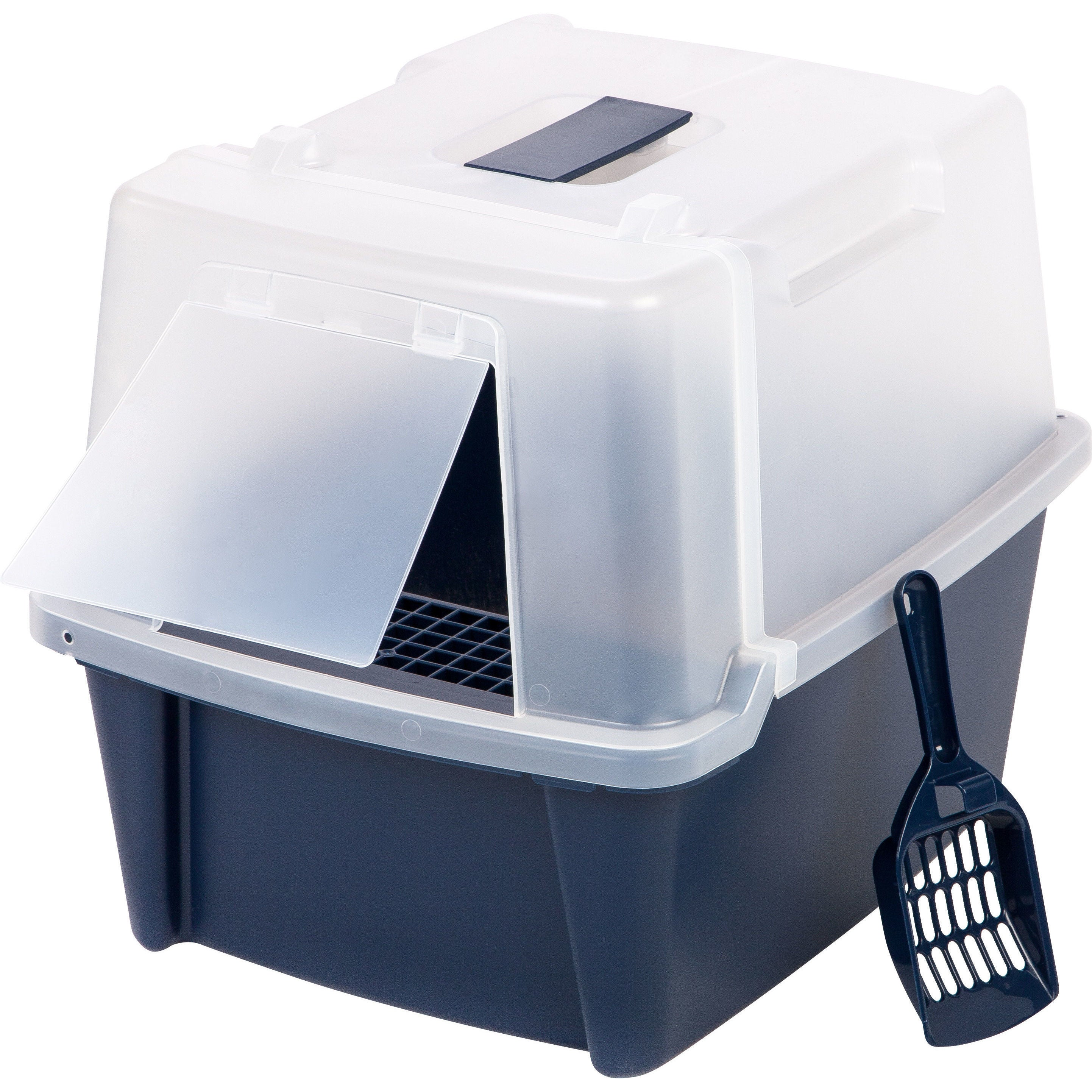 IRIS Large Split-Hood Litter Box with Scoop and Grate, Bl...