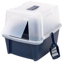 IRIS Blue Large Split-hood Litter Box with Scoop and Grate