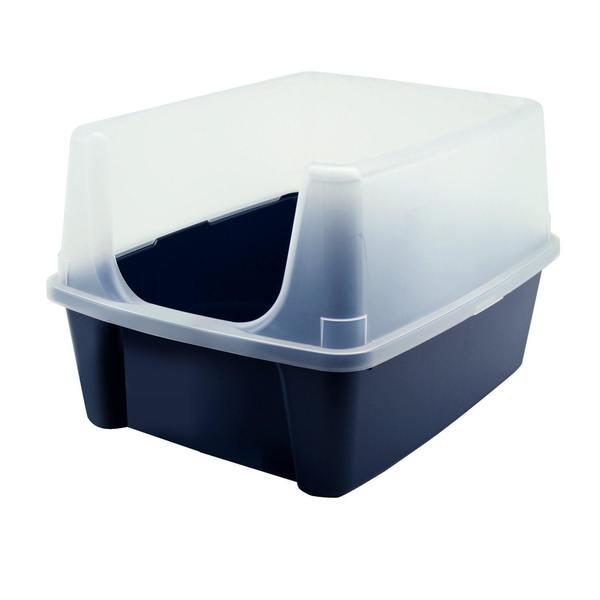 IRIS Open-top Blue Cat Litter Box with Shield