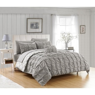 Chic Home Jana 4-piece Grey Reversible Duvet Cover Set