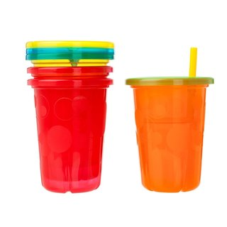 The First Years Red Take and Toss 10-ounce Straw Cups (Pack of 4)