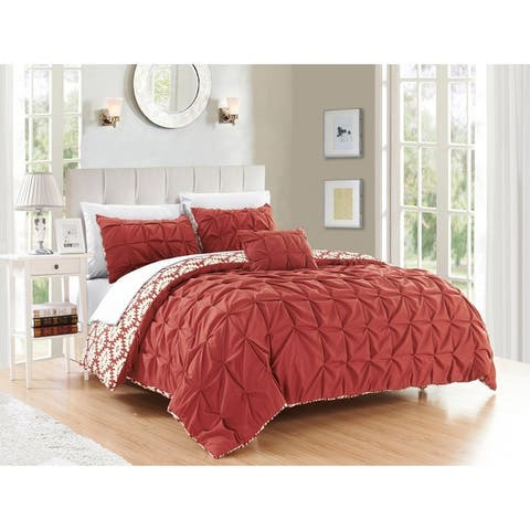 Chic Home Jana 8-piece Bed in a Bag Brick Color Reversible Duvet Set