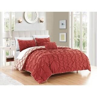 Chic Home Jana 8-piece Complete Bed in a Bag Brick Color Reversible Duvet Set