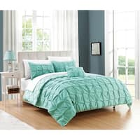 Chic Home Jana 8-Piece Bed in a Bag Reversible Duvet Set, Aqua