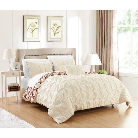 Chic Home Jana 8-Piece Bed in a Bag Reversible Duvet Set, Cream