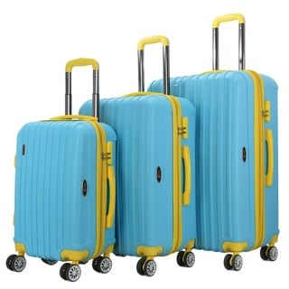 Brio Luggage Two-Tone Thick-Ribbed 3-piece Expandable Hardside Spinner Luggage Set