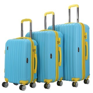 Brio Luggage Two-Tone Thick-Ribbed 3-piece Expandable Hardside Spinner Luggage Set (3 options available)