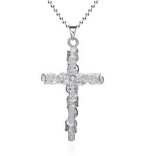 HAKBAHO Sterling Silver Cross Wiring Drop Necklace