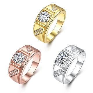 Gold Plated Split Shank Cubic Zircon Promise Brass Ring