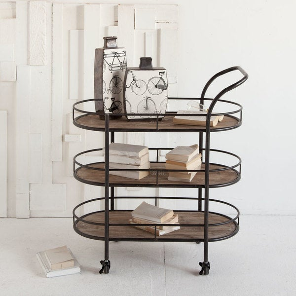 Mercana Reachalle Grey Wood/ Metal Rolling Bar Cart