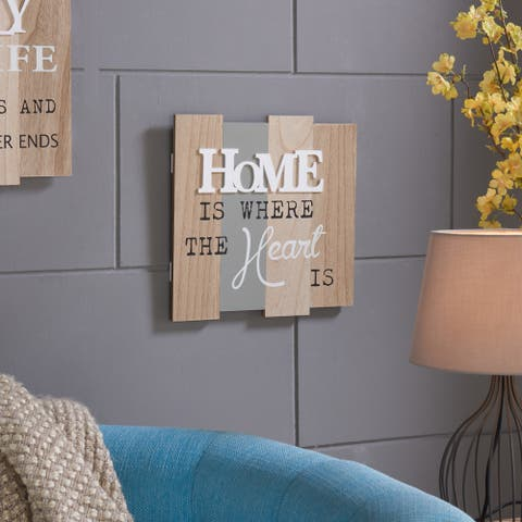 """Danya B. """"Home Is Where The Heart Is"""" Wooden Wall Plaque"""
