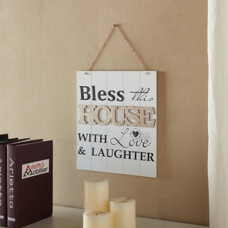 "Danya B. ""Bless This House With Love & Laughter inches wideooden Wall Plaque"