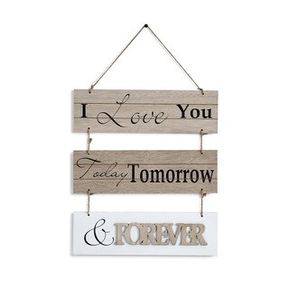 Danya B. I Love You Today, Tomorrow, & Forever Sectioned Wooden Wall Plaque