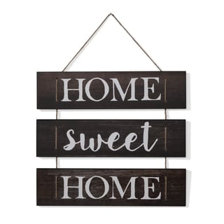 "Danya B. ""Home Sweet Home"" Wooden Wall Hanging with Rope"
