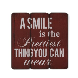 """Danya B. """"A Smile is the Prettiest Thing you can Wear"""" Wooden Wall Art"""