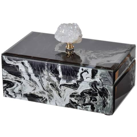A&B Home Medium Black Marbled Jewelry Case