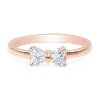 1/2 Carat 2 Stone Heart Shaped Diamond Bow Style Promise Rings For Women