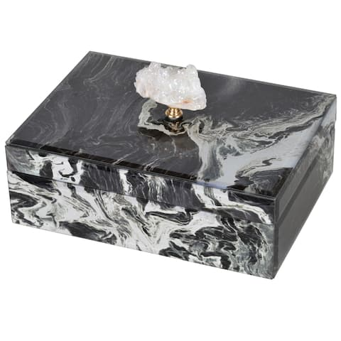Black and White Marbled Large Jewelry Case with Lid
