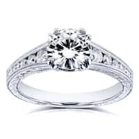 Kobelli 14k White Gold 1 1/4ct TCW Forever One Colorless (DEF) Moissanite with Diamond Milgrain Channel Band Engagement Ring
