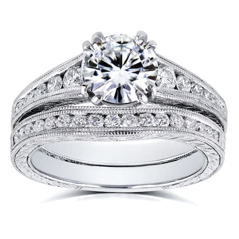 Annello by Kobelli 14k White Gold 1 1/2ct TGW Forever One Moissanite and Diamond Bridal Set