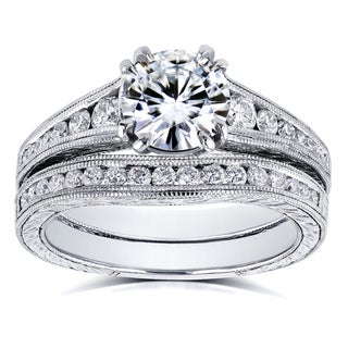 Kobelli 14k White Gold 1 1/2ct TCW Forever One Colorless (DEF) Moissanite with Diamond Milgrain Channel Band Bridal Set
