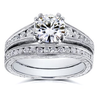 Annello By Kobelli 14k White Gold 1 1 2ct TGW Moissanite FG With Diamond GH Milgrain Channel Band Bridal Set